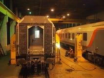 Ändern der Zug ` s Blockwagen Lizenzfreie Stockfotos