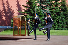 Ändern des Schutzes am Grabmal des unbekannten Soldaten in Aleksandrovsk zu einem Garten moskau Stockfotografie