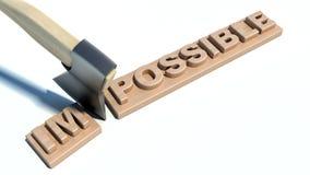 Ändern des Wortes unmöglich in mögliches auf hölzerner Planke stock abbildung
