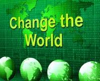 Ändern Sie die Welt darstellt überdenken weltweit und verbessern vektor abbildung