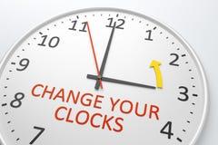 Ändern Sie Ihre Borduhren stockfoto