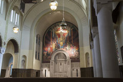 Ändern Sie mit Fresko in der römisch-katholischen abaondoned Kirche Lizenzfreies Stockfoto