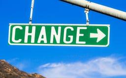 Ändern Sie Straßenschild Stockfotos