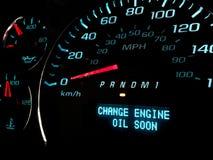 Ändern Sie Warnlicht des Öls bald Stockbild