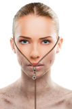 Ändernde Haut der schönen Frau, Schönheitskonzept lizenzfreies stockfoto