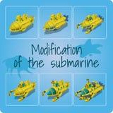 Änderung der Unterseeboote Satz von sechs Ikonen lizenzfreie abbildung