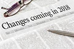 Änderungen, die im Jahre 2018 kommen Lizenzfreie Stockfotos