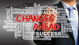 Änderungen voran mit in Verbindung stehender Wortwolken-Handzeichnung vom businessma Lizenzfreies Stockfoto
