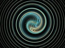 Ändlös azur fractalspiral som vävas från tunt Arkivfoto