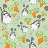 Ändlös bakgrund för vektor med kanin och moroten Royaltyfria Bilder