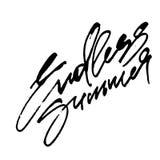 Ändlös sommar Modern kalligrafihandbokstäver för serigrafitryck Royaltyfri Bild