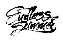 Ändlös sommar Modern kalligrafihandbokstäver för serigrafitryck Royaltyfria Foton