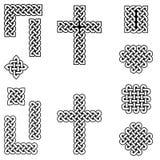 Ändlösa fnurensymboler för keltisk stil inklusive gränsen, linje, hjärta, kors, curvy fyrkanter i vit, med svart fyllning mellan  royaltyfri illustrationer
