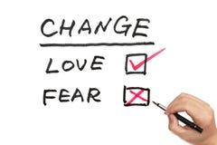 Ändra, älska eller frukta Arkivbild