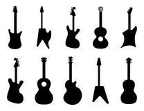 ändra färggitarren resize deras silhouettes kan de dig Vagga akustiska elektriska gitarrer Den svarta konturn av vaggar gitarren, Royaltyfri Bild