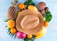 ändra sommaren för illustrationen för färgrik färgsammansättning den lätta till vektorn Tropiska palmblad, hatt, många frukter på royaltyfria bilder