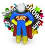 Ändra Superherohjälp som du anpassar, och lyckas i liv Arkivbild
