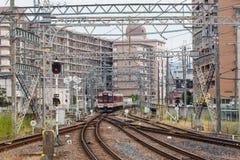 Ändrande järnvägsspår Arkivbild