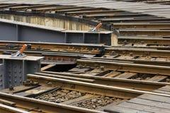 ändrande järnvägstilspår Arkivfoton