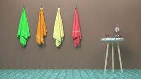 Ändrande rum i lyxig brunnsort eller bastu, handdukar, marmortabell och ett exponeringsglas av vatten vektor illustrationer