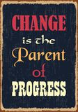 Ändring är föräldern av framsteg Motivational citationstecken också vektor för coreldrawillustration royaltyfri illustrationer
