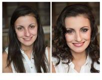 Ändring av kvinnan med och utan makeup Royaltyfri Foto