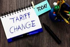 Ändring för handskrifttexttariff Öppnar den menande rättelsen för begreppet av importexportskatter för varor och tjänst antecknin arkivfoto
