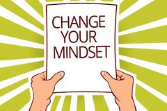 Ändring för textteckenvisning din Mindset Det begreppsmässiga fotoet byter ut din troväg av att tänka huvudrapporten för den ment royaltyfri illustrationer