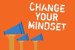 Ändring för textteckenvisning din Mindset Det begreppsmässiga fotoet byter ut din troväg av att tänka mentala mes för banameddela stock illustrationer