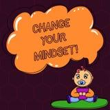 Ändring för textteckenvisning din Mindset Inställning eller disposition för begreppsmässigt foto som fast mental visar svar stock illustrationer