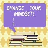 Ändring för textteckenvisning din Mindset Inställning eller disposition för begreppsmässigt foto som fast mental visar svar royaltyfri illustrationer