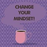 Ändring för textteckenvisning din Mindset Inställningen eller disposition för begreppsmässigt foto som rånar den fasta mentala vi vektor illustrationer