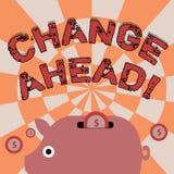 Ändring för textteckenvisning framåt Begreppsmässig fotohandling eller process som något blir olikt färgrikt Piggy till och med stock illustrationer