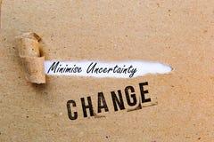Ändring - minimera osäkerhet - lyckade strategier för ändring royaltyfria foton