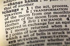 Ändring omformar definitionordboken royaltyfri fotografi