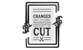 Ändringsstart som uppstår, när budgeter klipps royaltyfri illustrationer