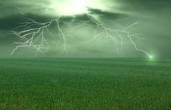 äng över thunderstorm Royaltyfria Bilder