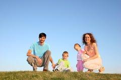 äng för familj fyra Arkivbilder