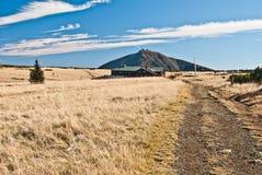Äng med den isolerade träd-, Lucni boudachalet och den Snezka kullen i Krkonose berg Arkivbilder
