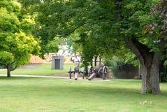 Äng med träd och kanoner i staden av Bonn i Tyskland Royaltyfri Bild