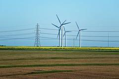 Äng med vindturbiner som frambringar elektricitet och elkraften po Royaltyfri Foto
