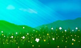 Ängar, blommor och buttrflyes Arkivbild