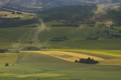 Ängar och skogar som ses från luften arkivfoto