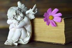 Ängel, blomma och gammal bok Fotografering för Bildbyråer