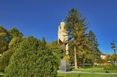 Ängel för klockatorn och monumenti Bitola, Republiken Makedonien Royaltyfri Foto