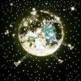 Ängel för kort för julTid hälsning Fotografering för Bildbyråer