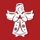 Ängel för vit jul som ber på den röda bakgrunden Konturn av ängeln kan använda för kortet, laser klippa plotte Royaltyfria Bilder
