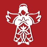 Ängel för vit jul som ber på den röda bakgrunden Konturn av ängeln kan använda för kortet, laser klippa plotte Fotografering för Bildbyråer