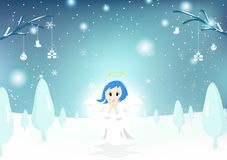 Ängel gulligt tecken, glad jul, hälsningkort, snönedgång stock illustrationer
