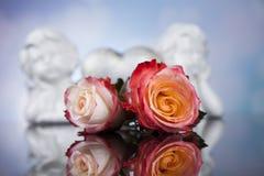 Ängel lyckliga valentin dag, spegelbakgrund royaltyfri foto